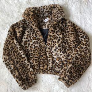 cheetah print superdown cropped sweater